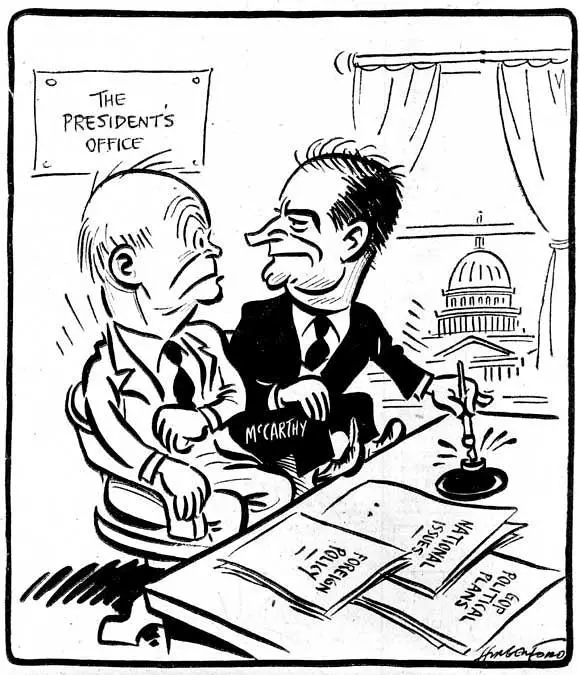 讽刺麦卡锡主义泛滥时期艾森豪威尔总统权力被架空的漫画(图片源于网络) 在这方面,美国和苏联两个国家具有代表性。当然,两国在议政上,都有限制。尤其是美国,在麦卡锡主义泛滥之际,恐共症弥漫全国。其间,对言论自由的限制,也就是对议政的限制,已经成为政治丑闻。但一般来说,美国保护公民议政权利,从法案到一般制度、从国家权力到社会公众、从传播媒介到公民组织,都具有高度共识。尤其是第四权力即媒体权力的兴起,让新闻自由主导的社会议政,成为促使国家权力健康运行的强大社会力量。美国人普遍相信,若不给我新闻出版自由,