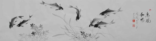 畅泳自然—蔡茂友水墨游鱼作品欣赏