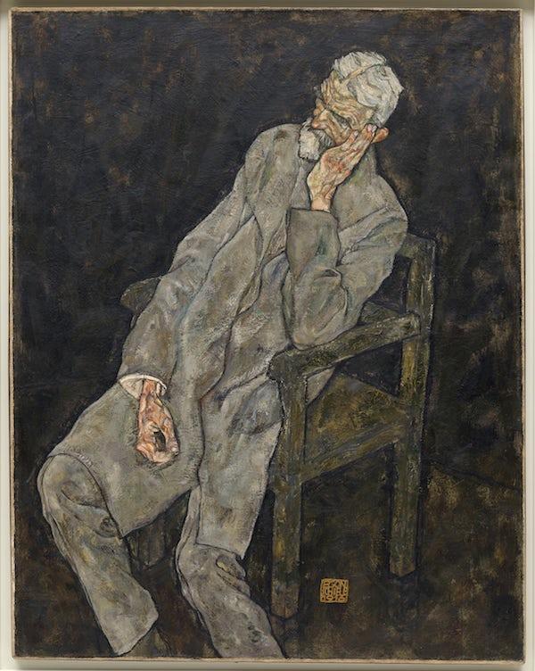 艾敏 席勒/埃贡·席勒,《老男人(约翰·哈姆斯)肖像》,1916年