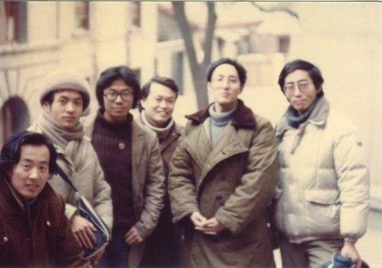 朦胧诗代表人物,左起:杨炼、顾城、牛波、唐晓渡、钟文、北岛