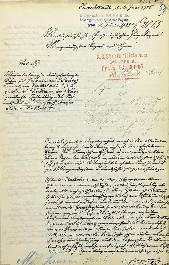 特朗普爷爷112年前写的那封信:请不要将我驱逐