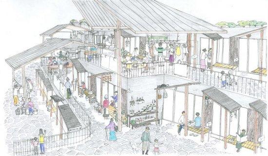 岩手县震后建筑手绘效果图图片来源 平田晃久建筑设计事务所网站