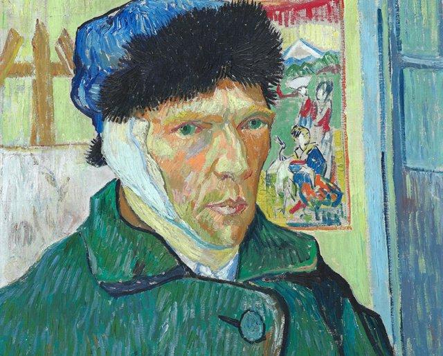 梵高《包扎着耳朵的自画像》(1889)