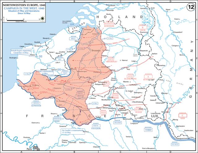 图4:德军(红色区域)将英军围困在海边