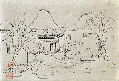 苏州园林手绘简单