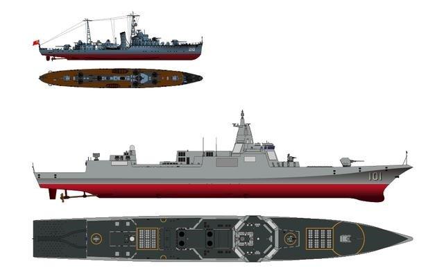 """新""""南昌""""舰和第一代""""南昌""""舰对比(顾伟欣绘图)"""