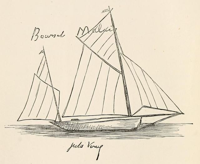 大海帆船手绘简笔画
