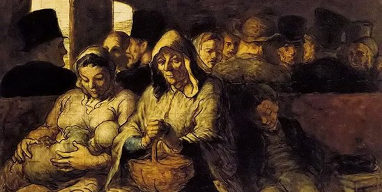 正义理论不是为不平等分配做辩护。图为法国画家杜米埃作品《三等车厢》
