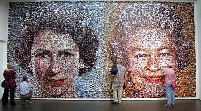 庆祝女王钻禧的艺术作品,由5000张BBC观众寄来的照片拼成