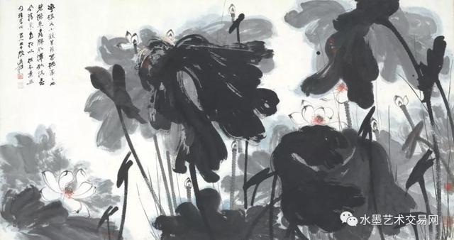 蔡茂友与近代张大千水墨荷花作品对比欣赏图片