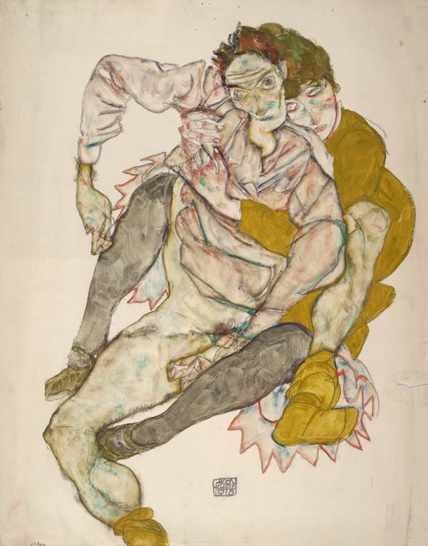 席勒/埃贡·席勒,《坐着的情侣》,1915,阿尔贝蒂娜博物馆藏