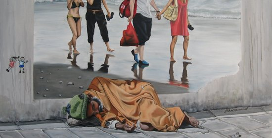 因为贫富差距和贪污腐败导致对社会正义的诉求。图为意大利画家罗莎・宝瑞拉作品《干扰》