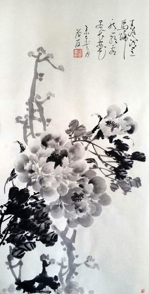蔡茂友与清代恽寿平水墨牡丹作品对比欣赏
