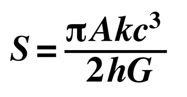 """注:S:熵;h:普朗克常数; G:万有引力常数;A:""""事件视界""""面积;c:光速;k:玻尔兹曼常量"""