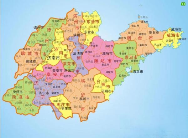 山东省地�_山东省十七地级市地图