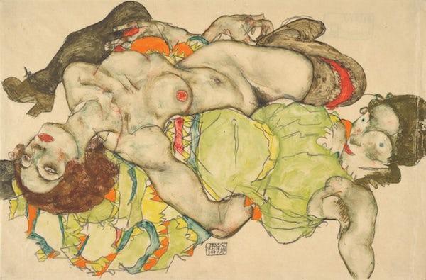 """席勒 艾敏/""""你可以看到他的痛苦……"""",《躺卧缠绵的两个女孩》,埃贡·..."""