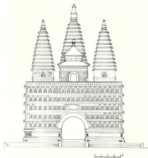 手绘五塔寺建筑立面图