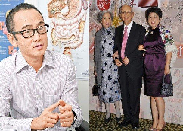 左:邹文怀小儿子邹重璂与香港名医。右:邹文怀与妻子袁曦华、女儿邹重珩