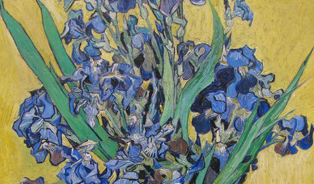 Vincent van Gogh:Vase with Violet Irises against A Yellow Background