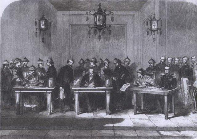 1858年6月28日,桂良、花沙纳与额尔金签订中英《天津条约》
