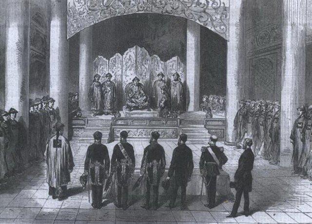 同治帝在中南海紫光阁首次接见外国使臣