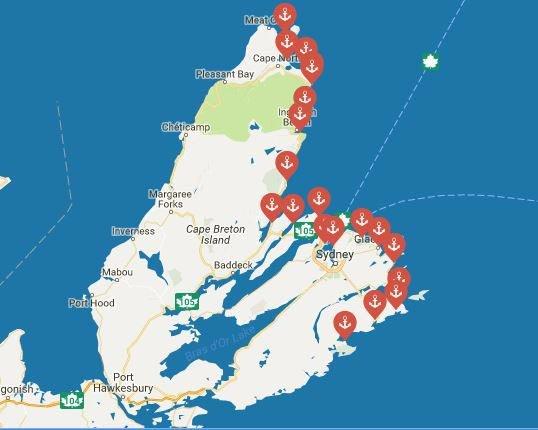 cape breton龙虾地图
