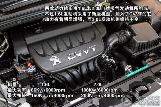 东风标致408 1.6L车型最大的改动来自动力的更换,原来那台最大功率78Kw/5750rpm,最大扭矩142N·m/4000rpm的发动机被更新的1.6L CVVT发动机取代。86Kw/6000rpm的最大功率和150N·m/4000rpm的最大扭矩要比之前上升了8Kw和8N·m。除了动力的增强还有经济性的提升,在相同传动系统的作用下,新款1.