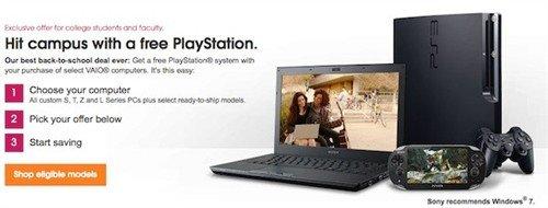 索尼VAIO促销:买750美元以上电脑送PS3