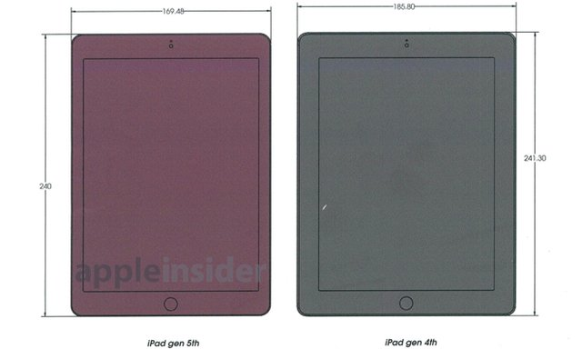 从设计图上看,新版的iPad宽度为169.48mm,相比第四代iPad 185.80mm的宽度减少了9%。由于采取了窄边框的设计,虽然宽度变小,但整个显示区域并没有变化,与前一代产品保持一致。高度的部分从241.3mm调整到了240mm,仅仅减少了1.3mm,几乎看不出什么变化。