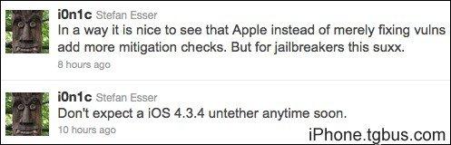 iOS4.3.4完美越狱很难完成 短期无望