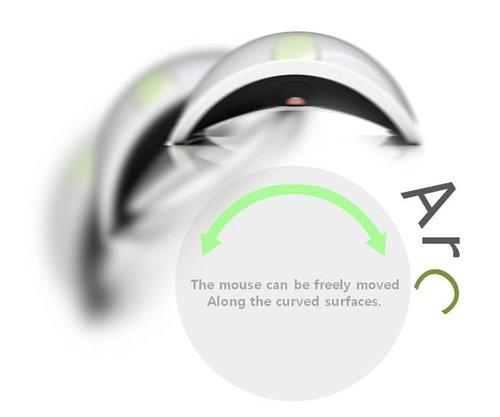 在膝蓋上也能滑不停的概念Arc Mouse