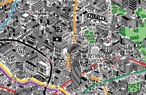 连酒吧商场都标注!可爱的手绘伦敦地图
