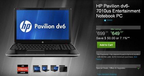 惠普dv6售价699美元 搭载二代四核APU