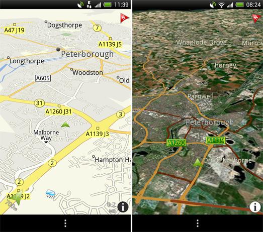 地图模式和卫星模式