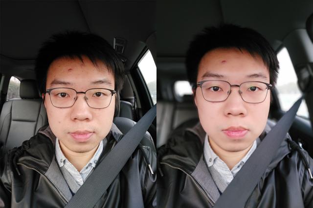 正常模式(左)美颜模式(右)