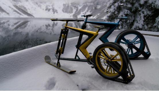 雪地专用自行车:用滑雪板当轮子你见过么?