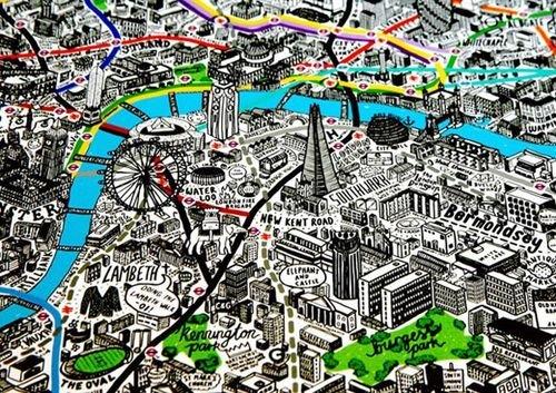 插画艺术家jenni+sparks绘制的手绘风格地图让
