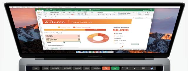 微软正在测试Office中MBP Touch Bar相关功能