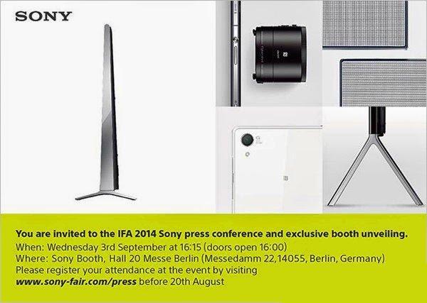 索尼IFA发布会邀请函曝光 将推多款新品