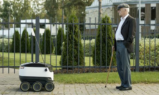 接收者得用智能手机解锁取货 机器人快递亮相