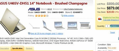 华硕14寸轻薄本U46SV开售 预订价879美元