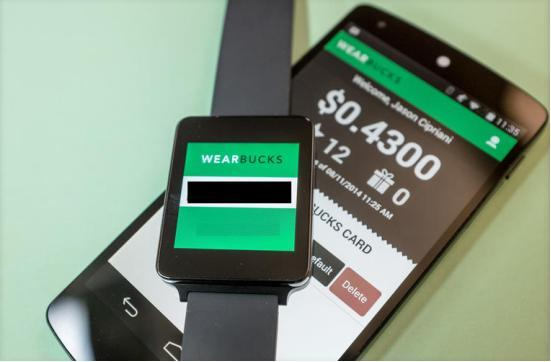 喝星巴克不用带钱 用Android Wear手表付款