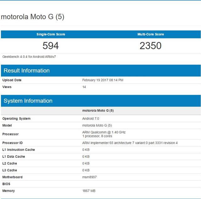 Moto G5跑分成绩曝光 确认骁龙430+2GB内存