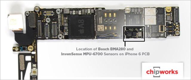 iPhone 6和6 Plus均配备两个加速度传感器