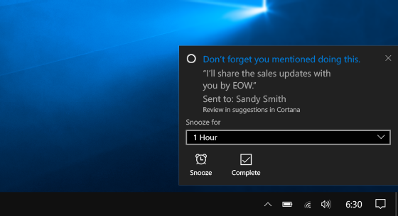 Cortana又获新功能 可帮助用户信守承诺