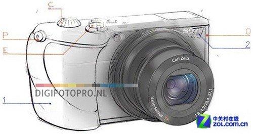 哈苏相机手绘图;; 单反相机结构手绘图; 据说这是以索尼rx100为原型而