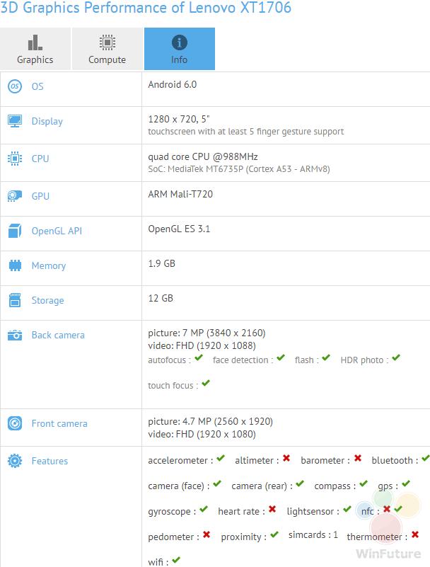 联想低端新机Vibe C2曝光 运行内存只有1GB