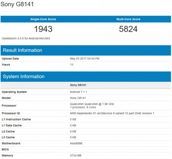 索尼新旗舰XZ Premium现身跑分网站 性能提升明显