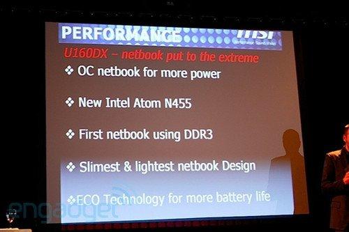 首款可以超频的微星U160DX小本 配DDR3