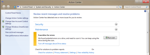 Windows 8磁盘健康模式 减少磁盘故障